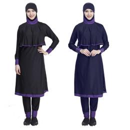 $enCountryForm.capitalKeyWord Australia - YM5571 Plus Size Chest pad Modest Muslim Swimwear Hajib connection 2 pieces Islamic Swimsuit For Women Full Cover Conservative Black
