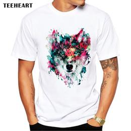$enCountryForm.capitalKeyWord Australia - 2017 Summer Custom Lion Owl Wolf Tiger Cat Design T Shirt Men's Watercolor Animal Graphics Printed Tops Hipster Tees pb575