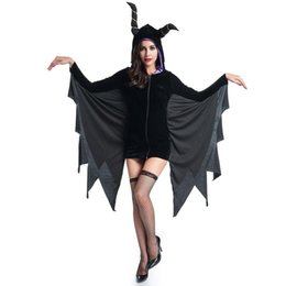 Maleficent Movie costuMes online shopping - Hallween Cosplay Costume For Women AdultSexy Black Horns Dress With Hat Withch Bat Vampire Maleficent Fantasias Diguise Hoodies