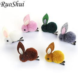 korean hair for kid UK - Cute Rabbit Hair Clip for Girls Kids Korean Princess Ties Elastic Hair Bands Handmade Hairpins Barrettes Hair Accessories