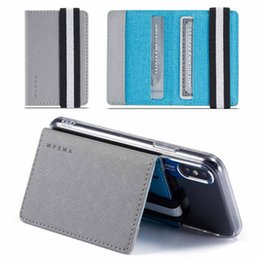 cell phone cases stickers 2019 - Universal RFID Blocking Adhesive Faux PU Leather Case for iphone XS Max XR Credit Card Pocket Sticker Pouch Holder Case