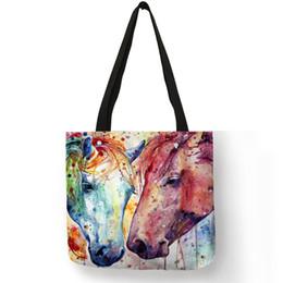 Large Horse Art Australia - New Arrival Totes Bag Lady Rainbow Horse Art Painting Shoulder Bag Eco Linen Casual Fashion Office School Handbags For Women