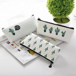 $enCountryForm.capitalKeyWord Australia - Cactus Pencil Case Kawaii Canvas zipper Stationery Estuches School Cute Pencil Box Pen Bags Pouch Pocket Coin purse