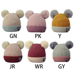 59cda7bed91 Toddler Children Winter Thread Ribbed Knitted Hat Thickened Contrast Color  Cute Dual Pompom Ball Beanie Cap Rabbit Sewing Appliq