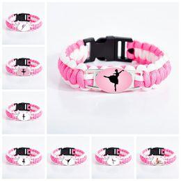 $enCountryForm.capitalKeyWord Australia - New Arrival ballet Dance bracelets For Women Girls Dancer Dance shoes sign Glass charm Pink Cord Wrap bracelet girlfriend Jewelry Gift