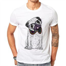 $enCountryForm.capitalKeyWord NZ - 100% Cotton Plus Size Kawaii Cartoons Dog Men T-shirts Cute Pug Bulldog Dog Glasses Short Sleeve T Shirt Tee White Tops