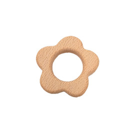 $enCountryForm.capitalKeyWord Australia - 4pcs Beech Wooden Flower Teether Baby Teethers Infants Teething Toys Baby Accessories For Baby Necklace Making