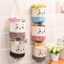 $enCountryForm.capitalKeyWord Australia - Cartoon Hanging Storage Bag Cotton Linen Wardrobe Hang Bag Wall Pouch Cosmetic Toy Organizer Household Multifunction Storage Box