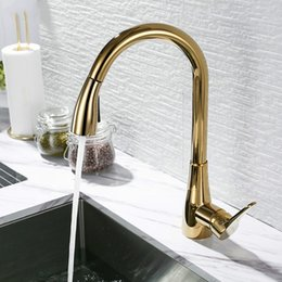 Stainless Pull Handles Australia - Luxury Kitchen Faucet Gold Single Handle Pull Out Sink Water Mixer Tap Solid Brass Silver Rose Gold Black Chrome Choice
