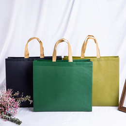 foldable environmental bags 2019 - Portable Reusable Non-woven Shopping Bags Solid Color Large Storage Environmental Tote Bag Organizer 2019 Casual Foldabl