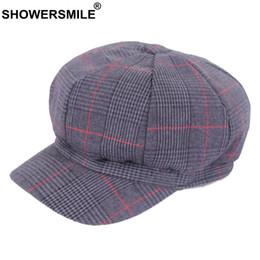 07e1933c02d3 wholesale Cotton Newsboy Hats For Women Black Houndstooth Flat Caps Female  Vintage Octagonal Cap Spring Autumn Duckbill Hats