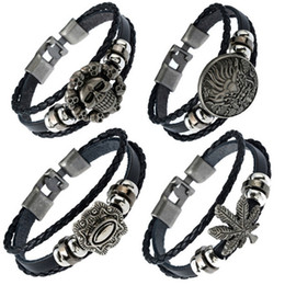 mens handmade leather bracelets NZ - 14 styles Cool Handmade Black Leather Braided Mens Bracelets Wristband Cuff Vintage Engraved Dragon Bracelet Ethnic Indian Jewelry pksp2-3