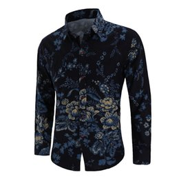 linen slim shirts Australia - Floral Shirt Men Long sleeve Linen Shirts Men s Clothes Fashion Flower Blouse Men Slim fit Summer New