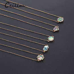 abalone necklaces wholesale NZ - Fashion Infinite Heart Round Cross Hexagons Pendant Clavicle Necklace for Women Gold Color Chain Abalone Shell Necklace Party Jewelry Gift