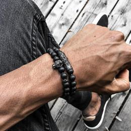 $enCountryForm.capitalKeyWord Australia - 2pcs set Fashion men's Bracelet 8MM Natural stone charm Lion charm Titanium steel anchor tube Holiday gift jewelry