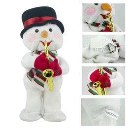 wholesale music plush toys NZ - High Electric Santa Claus Christmas Hat Music Stuffed Doll Plush Toy Dancing Music Doll Christmas LG66