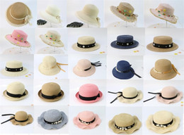 $enCountryForm.capitalKeyWord Australia - Spring Summer Kids Ball Caps Pearl Ribbon Lace Designer Kids Hats Caps Series Sun-proof Caps 25 Styles