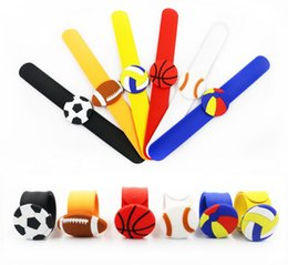 snap bands UK - Football Silicone Slap Snap Bracelets Volleyball Flexible Slap Wrist Band Multi Colors Basketball Slap Bands Party Favor Charm Band HWJ131