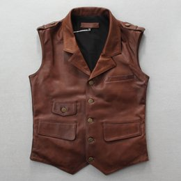 black sleeveless jacket men NZ - slim fit Men's genuine jacket sleeveless brown black vintage leather men natural sheepskin vest with pockets
