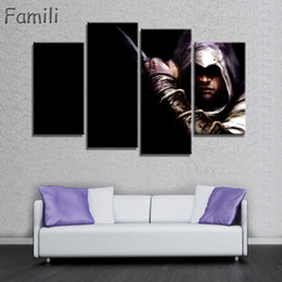 wholesale canvas movie prints Canada - 4Panel Factory Price Movie Assassins Creed Poster Wall Modular Picture Canvas Paintings For Living Room Bedroom Kids Room Wallpaper