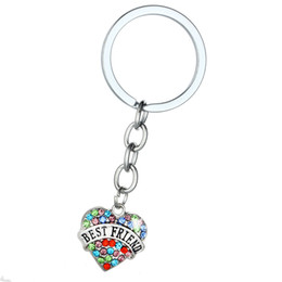 Discount diamond key ring fashion Heart Shape Crystal Key Chains Jewelry Best Friend Vintage Silver Colorful Diamond Keychain Key Rings Fashion Family DAD