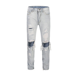$enCountryForm.capitalKeyWord UK - Hip Hop Zipper Frayed Black Blue Jeans Slim Fit Biker Trousers Ripped Destroy FOG Kanye Justin Bieber Skinny Denim Men Pants