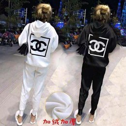 Wholesale design hoodies for free online – oversize The Latest Design For Women s Sports Two Piece Fashion Outdoor Casual Double C Print Hoodie Loose Pants Sports Suit Colors