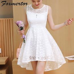 $enCountryForm.capitalKeyWord Australia - 2019 New Summer Girl Women Dress Dovetail Mini Wedding Party Short Dresses Solid Lace Cute White Pink Blue vestidos de festa X1