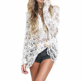 Hollow Lace Shirts Crochet Australia - 2019 Summer Lace Shirts Women Tops Long Sleeve Vintage White Blouse Sexy Hollow Crochet Blouses One Size
