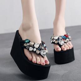 $enCountryForm.capitalKeyWord Australia - Heart-shaped rhinestone decorate sandals women colorful crystal flip flops super high heels ladies handmade platform slippers 42