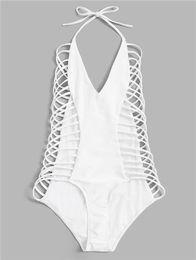 Swimsuit Strap Australia - 2019 Sexy Bikini Swimsuit One Piece Bandage Swimwear Women Spaghetti Strap Monokini Bodysuits Swimming Vest Lady Swim Wear Bathing Suits XL