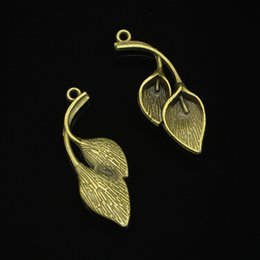 antique branch pendant Australia - 77pcs Charms leaf branch Antique Bronze Plated Pendants Fit Jewelry Making Findings Accessories 40*14mm