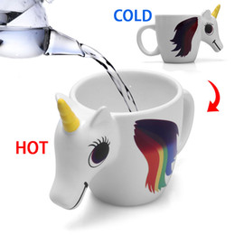 Discount christmas coffee mugs gifts - 300ML 3D Color Changing Ceramic Mug Temperature Unicorn Coffee Tea Milk Hot Water Cup Drinkware Colour Novetly Christmas