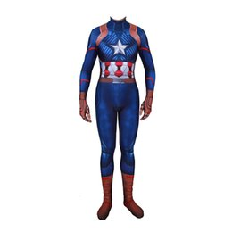 $enCountryForm.capitalKeyWord UK - Kids Adult Lycra Captain America Suit 3D Print Bodysuit Zentai Cosplay Costumes For Man Boys Superhero Costume Cosplay Customized Size