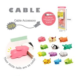 Cable Saver Protector UK - Cable Bite Saver Cute Cartoon Cat USB Charger Cable Protector Head Savor Cover Connector Port Protective for iPhone 8 plus X Lightning