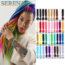 Discount dark green hair extensions - Kanekalon Jumbo braiding hair 24inch Folded 100grams Solid Dark Green Color Synthetic Braids Hair Extension Dreadlocks F
