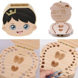 cute baby boy shower gifts UK - Wooden Cute Baby Souvenirs Girl Boy Tooth Box Organizer Container Storage Teeth Box Keepsake Gift for Baby Shower Birthday Party