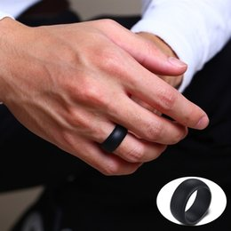 Wide Silicone Band Australia - Vnox 9MM Wide Silicone Rings for Men Rubber Wedding Bands 4 Color Options
