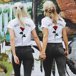 Best Wholesale T Shirts Australia - Best Friend Rose Print Women T shirt Harajuku short Sleeve O-Neck Female Tee 1PCS