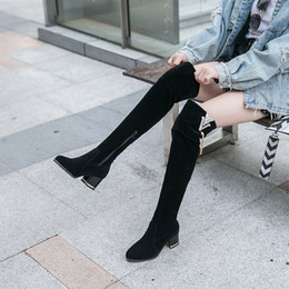 Long snow boots online shopping - Sexy winter Over Knee Boots Women snow Boots mid heels women shoes suede casual Non slip long Winter Thigh High