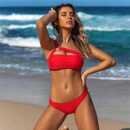 $enCountryForm.capitalKeyWord Australia - Sexy One Shoulder Bikini 2019 Leopard Swimsuit Red Swimwear Women Push Up Bikinis Set Brazilian Beach Wear Swim For Bathing Suit Y19072401