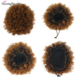 $enCountryForm.capitalKeyWord NZ - Afro Bun Chignon Hair Ponytail Synthetic Kinky Curly Puff Clip in Drawstring Black Women
