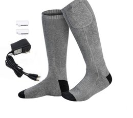 Discount coolest new gadgets - USB charging New men's socks for skiing and fishing in winter 3.7V battery heated men's cotton socks gadgets c