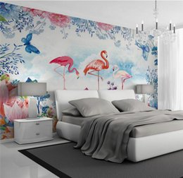 decorative country painting NZ - 3d Wall Paper Home Improvement Decorative Wallpaper for Walls Living Room Hand Painted Flamingo Wallpaper Background Wall Murals
