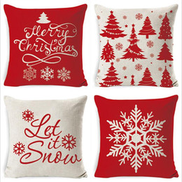 merry christmas bedding Canada - Merry Christmas Sofa Pillow car pillow Cushion cover 100% Cotton Cushion Super soft Pillow Case Bedding Supplies Home Textiles