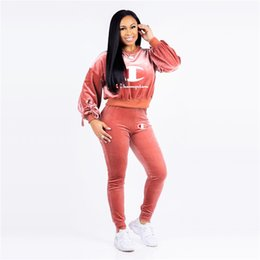 $enCountryForm.capitalKeyWord Australia - Champions Velvet Tracksuits Brand Designer Women Two Piece outfits Crop Hoodie Tops and Pants Set Velour Sweatsuit Sportswear Clothing C8204