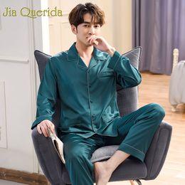 d30f076daa165 J&Q Mens Pajama Set Fashion 2019 Satin Sleepwear Male Classy Nightwears  Long Sleeves Green Pajamas 2pcs Silk Men's Satin Pajamas
