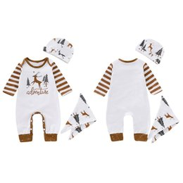 Chinese  Autumn Suit Christmas Cartoon Print Long Sleeve Romper Bodysuit Cap Triangle Bibs Baby Infant Boy Girl Clothes 3pcs Suits manufacturers