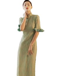 $enCountryForm.capitalKeyWord NZ - Best Quality Series# Formal Dress Vintage Cheongsam Chinese Style Green Lace Ruffle Trim Fashion Party Wedding Guest Women Dresses 8103