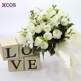 Purple Ivory Bouquets Australia - Ivory Bridesmaid Foam Flowers Rose Bridal Ribbon Fake Wedding Bouquet De Noiva C19041701